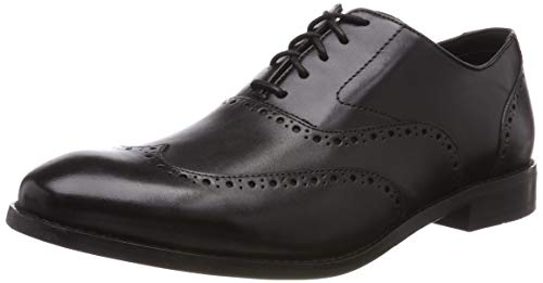 Clarks edward walk, scarpe stringate derby uomo, nero (black leather-), 42 eu