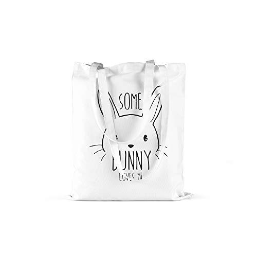 licaso Jutebeutel Bedruckt Some Bunny Loves Me Print in Weiss Baumwolltasche mit Langen Henkeln Beutel Sexy Häschen Druck Ökologisch & Nachhaltig Tragetasche 100% Baumwolle - Sexy Bunny Weiß
