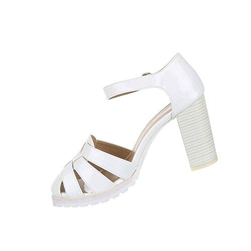 Damen Schuhe Pumps High Heels Riemchen Weiß 1FdDtwcvB