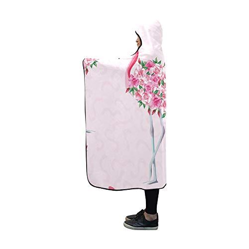 JOCHUAN Mit Kapuze Decke Strandbild Wallpaper Schöne Tropic Rosa Decke 60 x 50 Zoll Comfotable Mit Kapuze werfen Wrap