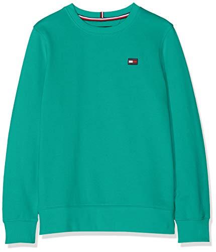 Tommy Hilfiger Jungen Tommy Flag Sweatshirt, Grün (Dynasty Green 303), 140 (Herstellergröße: 10) -