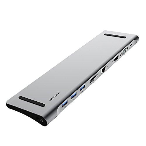 DIGITALKEY Docking Station USB-C AllinOne mit HDMI VGA LAN 3X USB 3.0 Card Reader - PC-Halterung aus Aluminium für Dell XPS MacBook HP und Viele Andere
