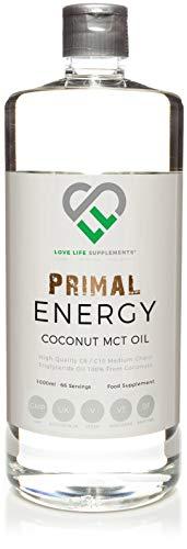 LLS PRIMAL ENERGIE MCT Öl   1000ml Flasche   100% Coconut Mittelkette tryglycerides   Natürliche Schnelle Energie   Geschmacklos und leicht zu mischen   Produziert in Großbritannie unter GMP-Lizenz