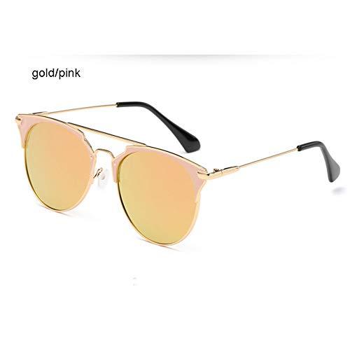 ZHFJGKR&ZL Spiegel Rose Gold Cat Eye Sonnenbrille Weibliche Runde Weibliche Sonnenbrille Weibliche 2019 Mode Oculos Starry Style-Gold Rosa