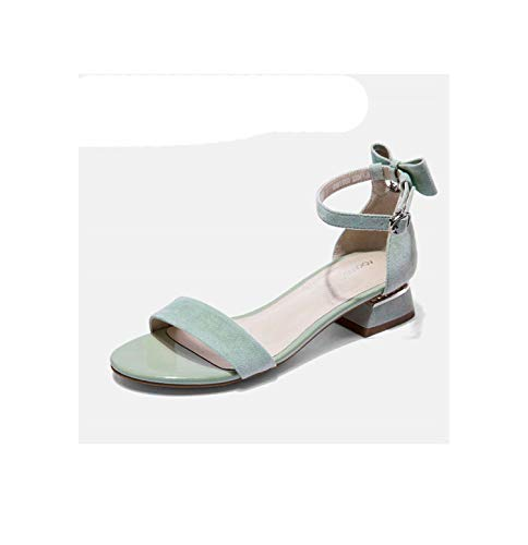 EARIAL& 2019 Summer Sandals Women Sweet Ankle Strap Heels Women Sandals Open Toe Chunky Party Dress Shoes Woman elegant Sandals green196811050 5 - Naturalizer Ankle Strap Sandalen