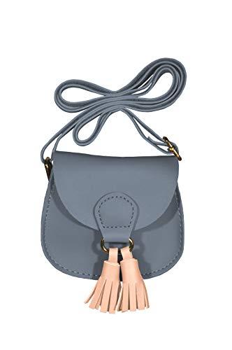 k:s me Tasche mit Bommel ◉ Mädchen Tasche ◉ Schultertasche ◉ Handtasche ◉Geschenkidee ◉ kids bag (Blau mit rosarotem Bommel) - Handtasche Kind