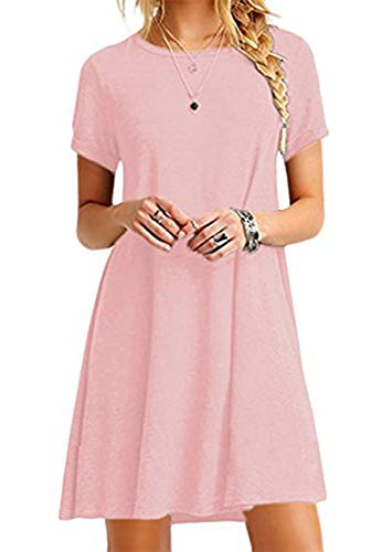 OMZIN Damen Casual Kleid Loose T-Shirt Kleid Kurzarm Langes Shirt Mini Sommerkleid Rosa 4XL