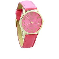 Unisex Gold Plated Mondex / Azaza / MABZ PU Leather Strap Watch (Hot Pink Strap With Hot Pink Dial)
