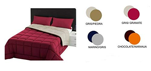 Energy Colors Textil - Hogar Relleno, Edredón nórdico Bicolor/Reversible 300gr (Gris/Piedra, Cama 90)