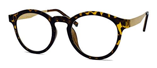 Stylische Nerd Brille im 50er 60er Vintage Look Streberbrille Pantobrille mit Metallbügel VN36 (Hornbrille / Gold)