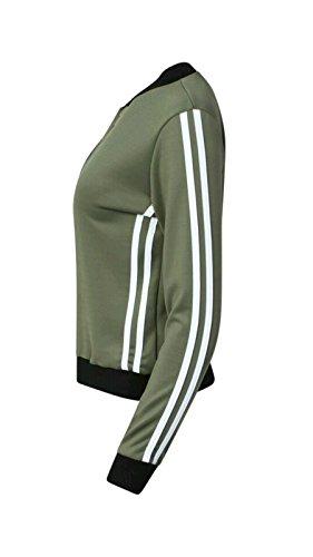Filles Ladies Sport Stripe Zip Blouson EUR Taille 36-42 Kaki