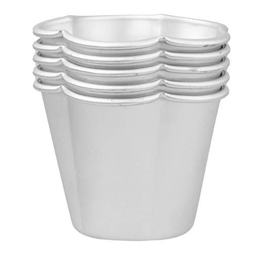 iiniim 5 Stück Backform Set Aluminium Kuchenform Puddingförmchen Förmchen für Pudding, Muffins, Cupcakes und andere leckere Desserts Silber B 5 Stück