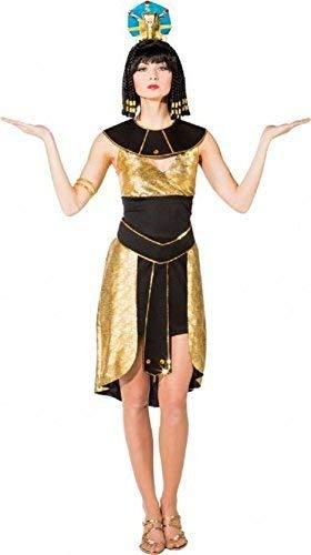 Fancy Me Damen gelbgolden Kleopatra ägyptisch Königin Pharao Historisch Geschichte Karneval Kostüm Kleid Outfit - Gold, UK 10-12 (EU (Ägyptischen Kostüm Geschichte)