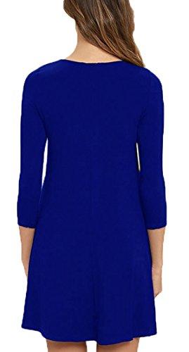 VIISHOW Damen Mini kleid Rundhals 3/4 Ärmel Stretch Basic Kleider Königsblau