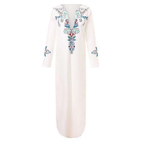 IZHH Damen Kleider Frauen Floral Printed Langarm V-Ausschnitt Maxikleid Split Hem Baggy Kaftan Mode lose Lange Kleid Casual Beach Rock(Weiß,XXX-Large) -