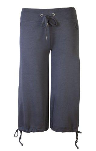 Damen 3/4Jogger von Brody & Co. Damen Bauchfreies Tie Jogginghose Gym Dance Pants Workout Trainiert Yoga Trainingsanzug Hose Gr. X-Small, anthrazit (Pant Kordelzug Dance)