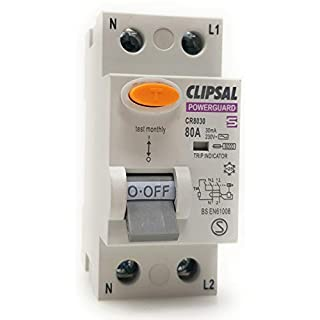 Wickes/Clipsal Powerguard - 2 Pole 80 Amp 30mA Type C Residual Current Circuit Breaker with Test (RCCB)
