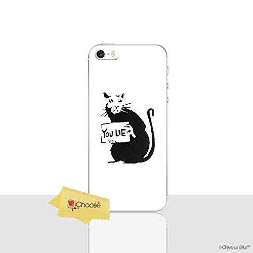 iPhone 5/5s Banksy Silikonhülle / Gel Hülle für Apple iPhone 5s 5 SE / Schirm-Schutz und Tuch / iCHOOSE / Ratte (Iphone 5s Fall Lachen)