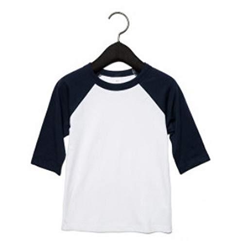 Bella +canvas - maglia da baseball con maniche a tre quarti - neonato (5 years) (bianco/blu navy)