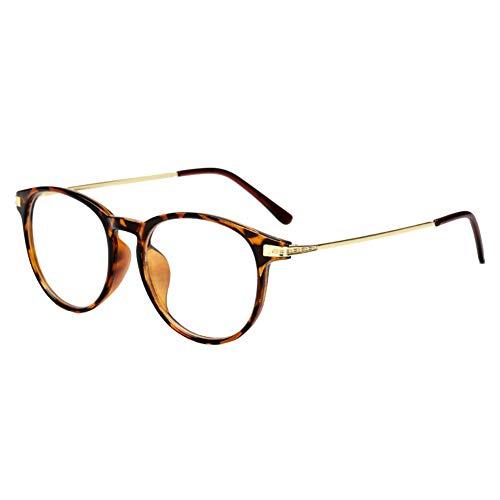 DaoRier Unisex Vintage Runde Brille PC Gestell Clear Lens Gläser Brille Dekobrillen