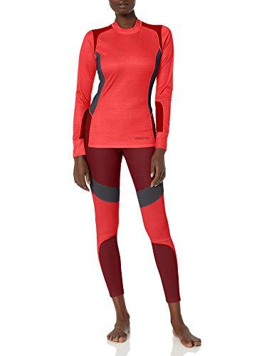Craft Damen Unterhemd und Strumpfhose, 2-teiliges Set, Damen, Base Layer Two Piece Shirt and Tights Pants Set, Balken/Rhubarber, Large