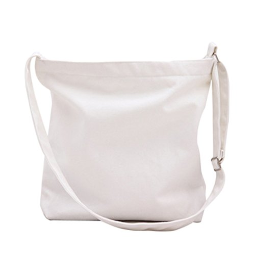 Miaomiaogo Sacchetti della borsa della spalla della tela di canapa di colore solido semplice Letterario Borse piccole delle nuove donne fresche bianca