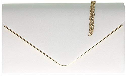 H&G Ladies Faux Suede Clutch Bag Envelope Metallic Frame Plain Design - White