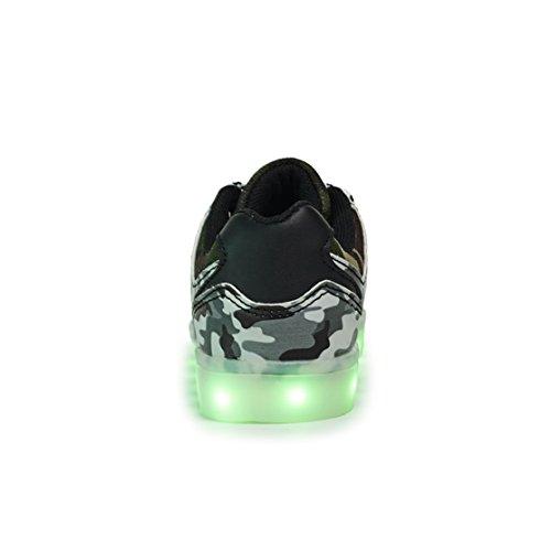 AFFINEST Enfants Chaussures LED Light Up Fashion Camouflage Sneakers Sport Chaussures charge USB de pour Unisexe Garçons Filles Armée verte-B