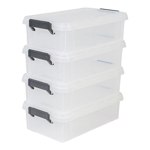 IRIS, 4er-Set Aufbewahrungsboxen / Kisten mit Deckel / Stapelboxen 'Multi Box', MBX-4, Kunststoff, transparent, 4 L, 36,5 x 21,4 x 10,5 cm