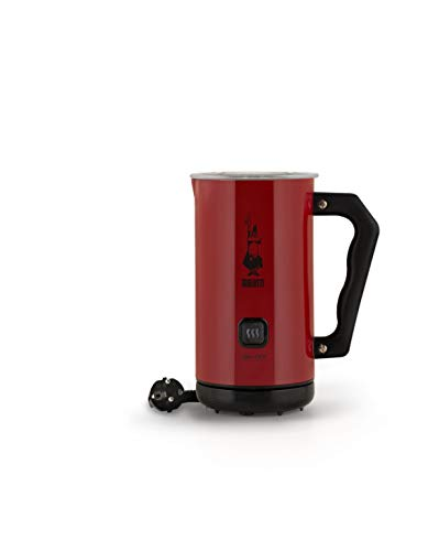 Bialetti Milk Frother Elektrische Milchaufschäumer, 150 ml Cappuccino oder 300 ml heiße Milk Red