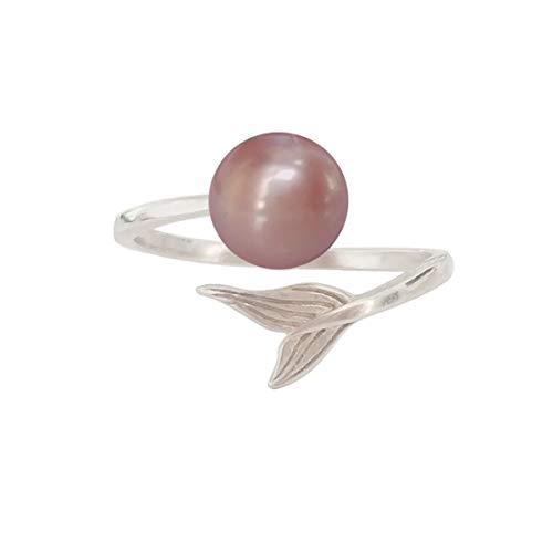 ELAINZ HEART elegante silberringe silber perlen ringe damen mit perle lila,Größe verstellbar S925 Silber 7-8mm Süßwasser kultiviert Knopf Perle (Größe Ringe Pearl 7)