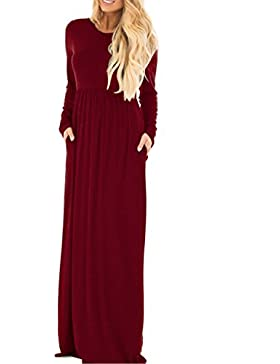 StyleDome Maglietta Donna Vestito Manica Lunga Collo V Abito Moda Casual Autunno Maglia Elegante Loose Tops