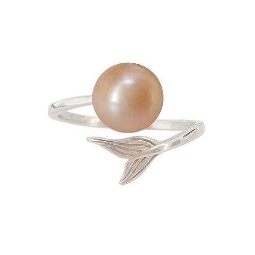 ELAINZ HEART perlenringe ringe perle weiß silber 925 rose modeschmuck für die frau,Größe verstellbar S925 Silber 7-8mm Süßwasser kultiviert Knopf ()
