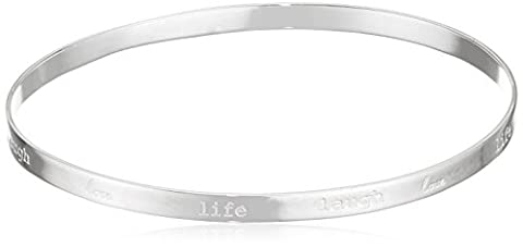 Elements Silver B3817 Ladies Love Life Sterling Silver Laugh Bangle, 6.9 cm