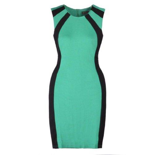 Eyekepper Frauen Rundhals aermellos Spleiss-Farbe Etuikleid Grün