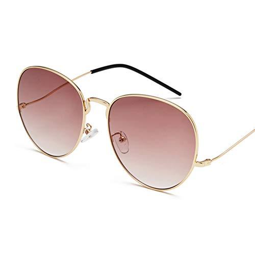 YHgiway Sonnenbrille für Männer Frauen Aviator Large Metal Frame-Colorful Gradient Linsen, UV400 Schutz YH6875,Gold/Brown