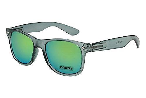 Preisvergleich Produktbild X-CRUZE® 8-077 Nerd Sonnenbrille Style Stil Retro Vintage Retro Unisex Herren Damen Männer Frauen Brille Nerdbrille - grau-transparent und grün-gelb verspiegelt
