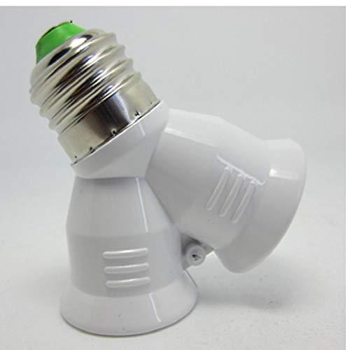 2 in 1 Lampen-Halter-Birnen-Halter Doppel-Doppel 2X E27 Sockel Base-Extend-Teiler-Stecker Halogen-Licht-Lampe Kupfer Kontakt Adapter (Licht Teiler)
