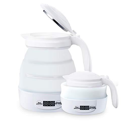 Reise-Faltbarer elektrischer Wasserkocher - Doppelspannung - schnelles Kochen des Wassers - Nahrungsmittelgrad-Silikon -800ML, zusammenklappbar, tragbar - 100v-240v - Weiß
