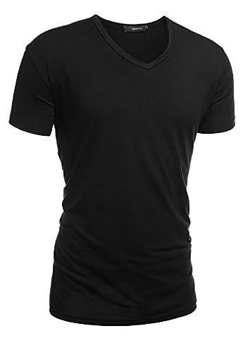 HEMOON Herren Slim Fit Kurzarm T-Shirt Basic V-Ausschnitt Tee Einfarbig Schwarz M
