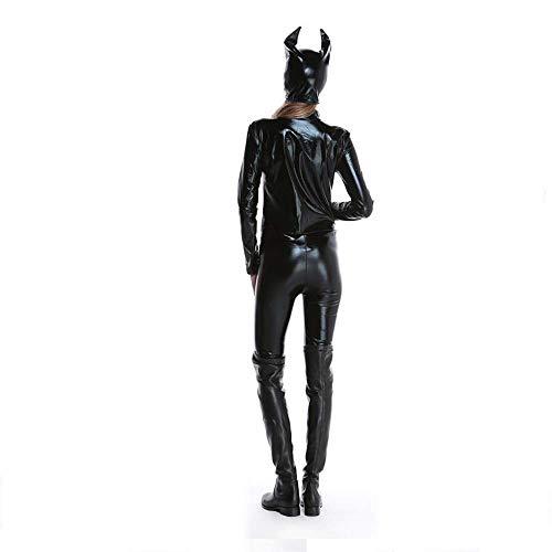 Fashion-Cos1 Frauen Overall Spandex Sexy Schwarze Katze Latex Catsuit Kostüme Mädchen Körper Anzüge Fetisch Leder Kleid Mädchen Cosplay Wäsche (Batman Spandex Kostüme)