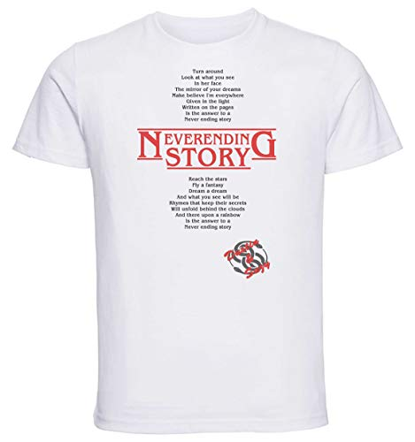 Instabuy T-Shirt Unisex - White Shirt - Stranger Things 3 - Neverending Story - Dustin & Suzy Song - Centered Size Extra Large