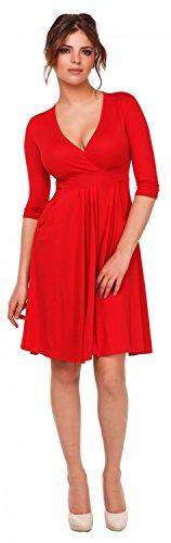 Glamour Empire. Femme Robe trapèze patineuse décolleté cache-coeur. Poches. 783 Rouge
