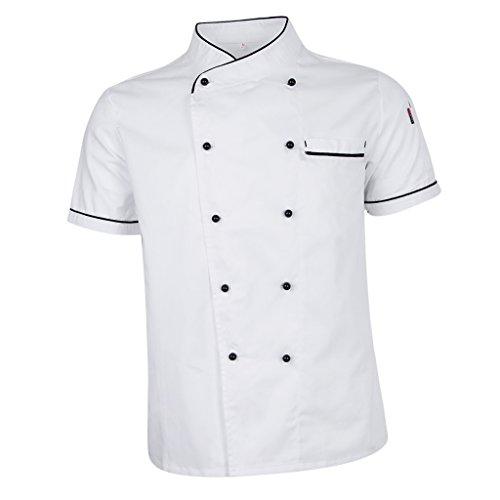 Sharplace Cappotto Cuoco Chef Cucina Chef Manica Corta Uniforme Manica Corta bianca M