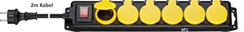 Kab24® Steckdosenleiste Gartensteckdose Mehfachsteckdose TÜV geprüft Strom Verlängerung IP44 spritzwassergeschützt mit Deckel und Schalter Wandmontage möglich 2m Kabel