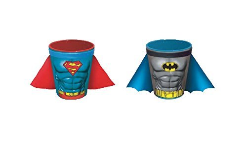 DC Comics Batman und Superman Uniform LOGO Shot Glas mit Kap (2-teiliges Set)