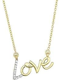 14ct oro Amarillo Brillante Amor collar con mosquetón de diamantes 0,07ct.