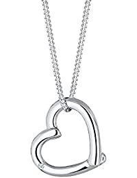 DIAMORE Women's Necklace Heart 925 Sterling Silver  Diamond White 0.02ct