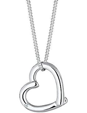 DIAMORE Damen Halskette mit Herz Anhänger Silber 925 Diamant 0,02 Karat