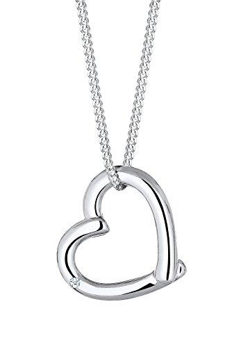DIAMORE Damen Schmuck Halskette Kette mit Anhänger Herz Liebe Freundschaft Liebesbeweis Silber 925 Diamant 0,02 Karat Weiß Länge 45 cm